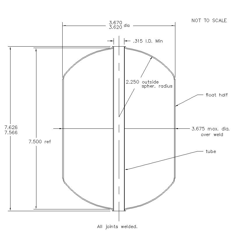 55500 Center Tube W/O Magnet 7.596 (H)
